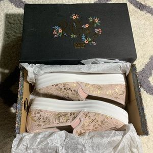 Keds rifle paper co gold floral rose suede blush